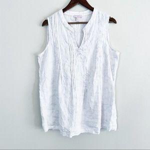 St. Tropez West Sleeveless Linen Blouse White XL